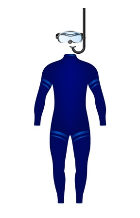 swim wear: Diving suit and diving goggles with snorkel