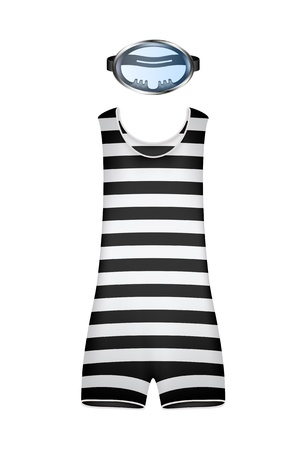 swimming costumes: Retro striped swimsuit and retro diving goggles