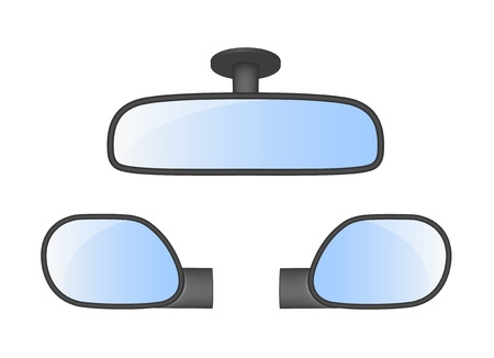 Set of car rear view mirrors