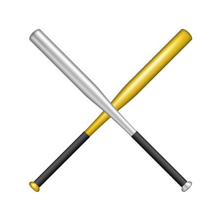 strong base: Two crossed baseball bats Illustration