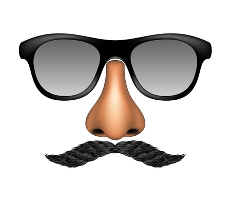 imitations: Funny mask made of glasses, mustache and nose