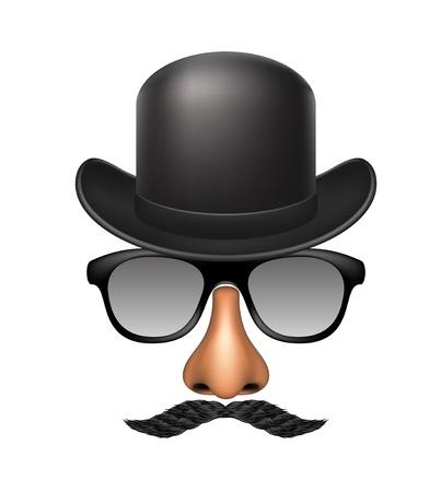 novelty: Funny mask made of glasses, mustache, nose and bowler hat Illustration