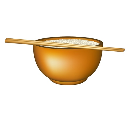 cooked rice: Bowl of rice and chopsticks