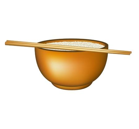 arroz chino: Cuenco de arroz y palillos