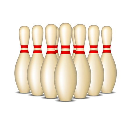 pin stripe: Bowling pins with red stripes standing in formation