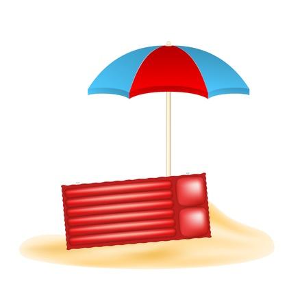 ombrellone spiaggia: Ombrellone e materasso ad aria in sabbia