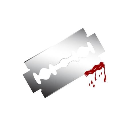 murdering: Razor with dripping blood