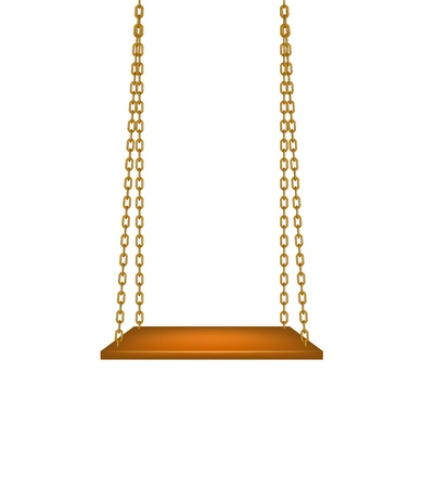 hang: Wooden swing hanging on golden chains