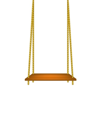 Wooden swing hanging on ropes