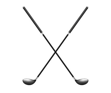 Twee gekruiste golfclubs Stock Illustratie