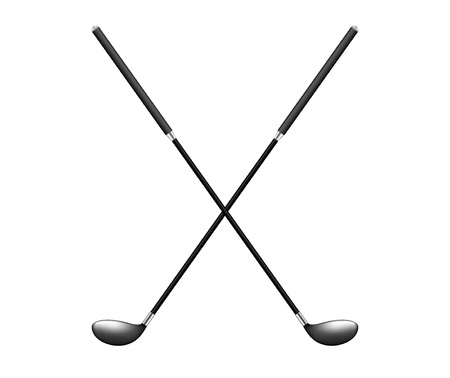 Two crossed golf clubs 向量圖像