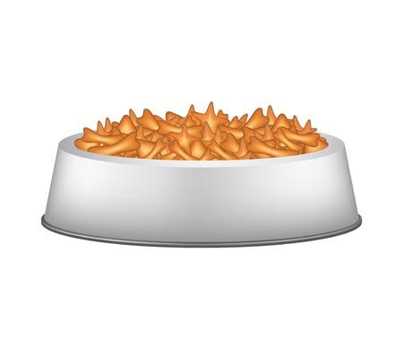 crackling: Pet food in silver bowl