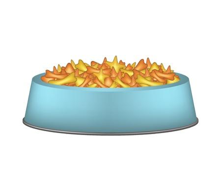 crackling: Pet food in blue bowl