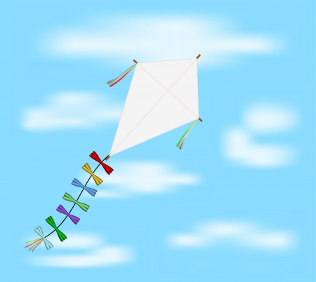 Paper kite flying on blue sky Vector