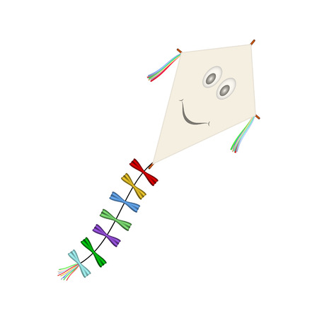 Paper kite with smiling face  Vector