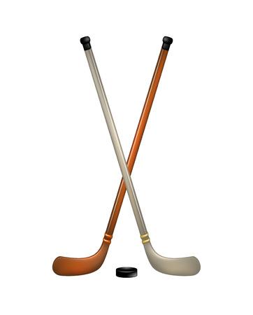 Dos palos de hockey sobre hielo y puck cruzados