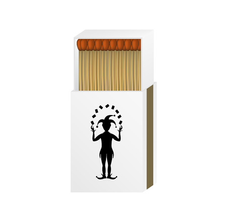 charred: Open matchbox with a joker  Illustration