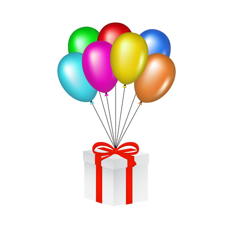 Multicolored glossy balloons lifting a gift box Stock Vector - 22731395