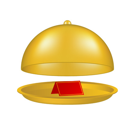 cloche: Open golden cloche with blank paper card Illustration