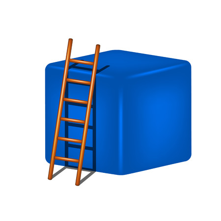 clamber: Blue cube and wooden ladder