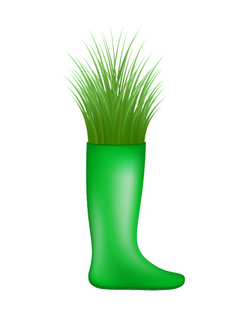 workwear: Grass growing from green rubber boot