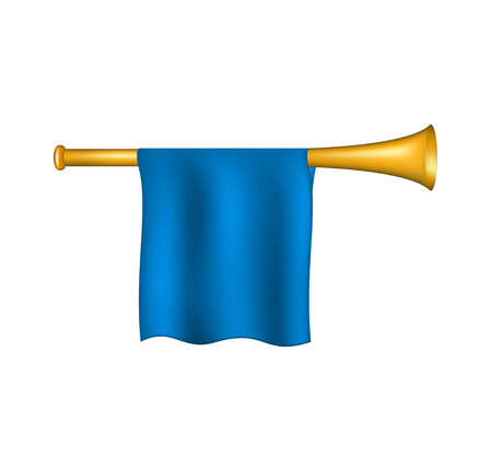 Trumpet with blue flag Ilustrace