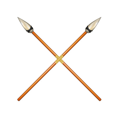 primitive tools: Two crossed ancient spears Illustration