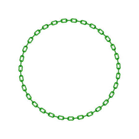 Green chain in shape of circle Illustration