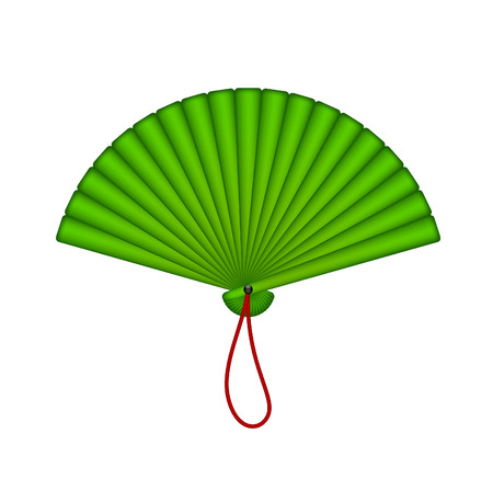 open fan: Green oriental fan