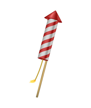 the wick: Firework rocket with burning wick Illustration
