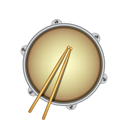 drums: Drum and pair of wooden drumsticks Illustration