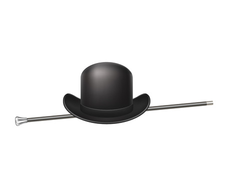 Bowler hat and elegant walking stick Vector