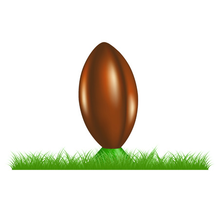 ballon de rugby: R�tro ballon de rugby sur coups de pied tee debout dans l'herbe