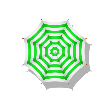 to sunbathe: Green and white striped beach umbrella Illustration