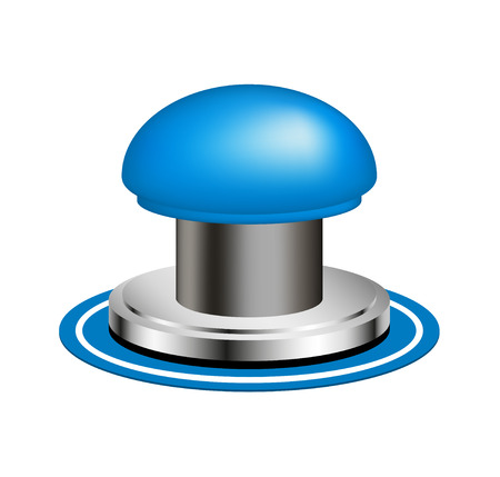 Blue alert push button Vector