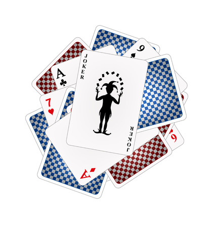 Back sides and front sides of playing cards   Vector