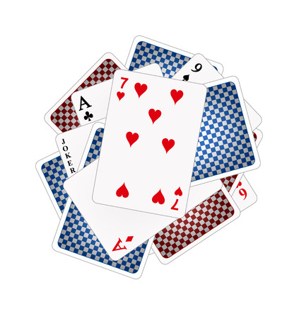 Back sides and front sides of playing cards