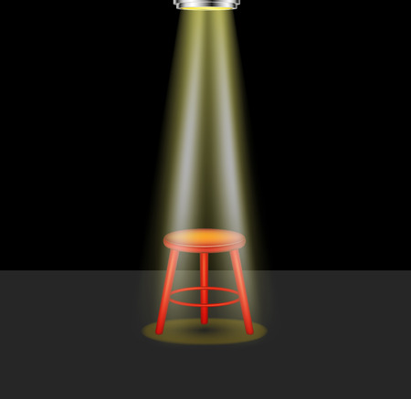 comedy show: Light shines on empty stool on stage  Illustration