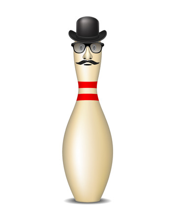 Bowling pin with bowler hat, mustache and glasses  Vector