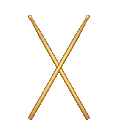 Crossed pair of wooden drumsticks Vector