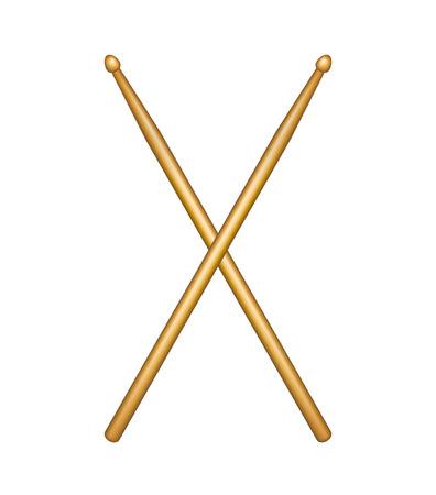 Crossed pair of wooden drumsticks Illustration
