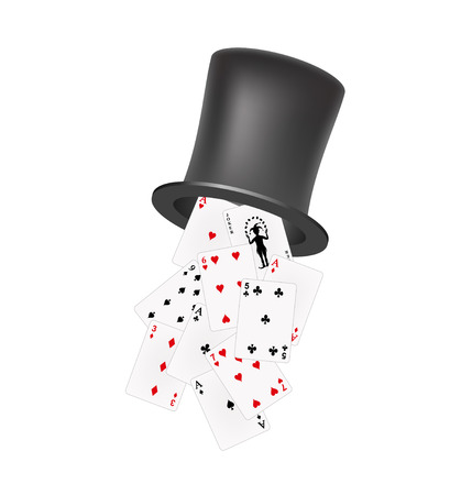 playing cards: Playing cards falling out of a hat