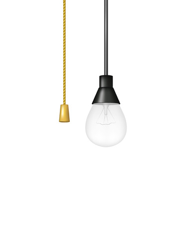 Hanging light bulb with cord switch
