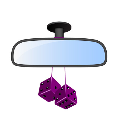 back view: Car mirror with pair of purple dices