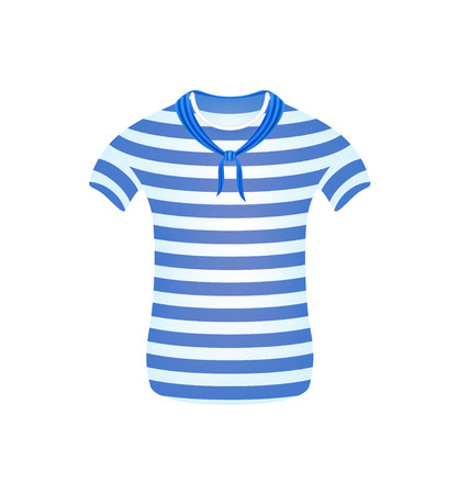 striped vest: Striped sailor t-shirt with blue scarf Illustration