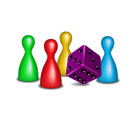 leisure games: Board game figures with purple dice
