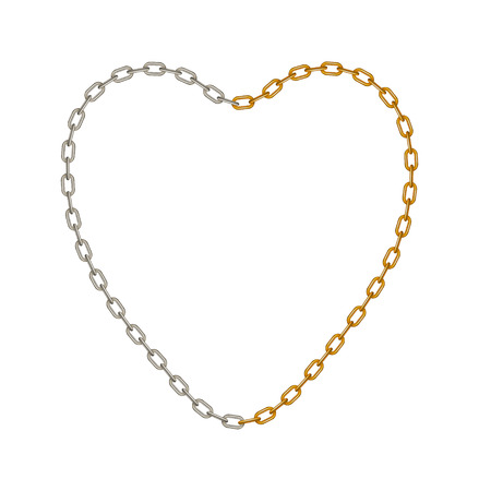 Half of chain in silver and half of chain in golden colour in shape of heart  Vector