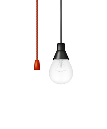 bombillo ahorrador: Colgante bombilla con interruptor de cordón rojo