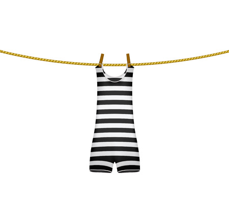 clothes peg: Striped retro swimsuit hanging on rope Illustration