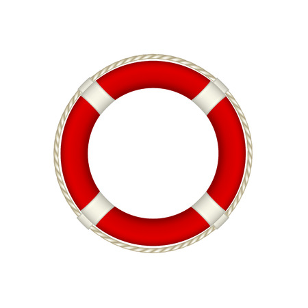 life preserver: Red life buoy with rope around